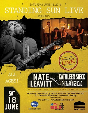 Standing Sun LIVE presents Nate Leavitt with Kathleen Sieck & The Paradise Road 6.18.2016