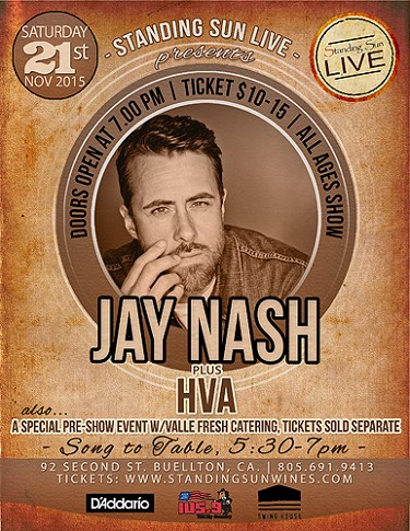 Standing Sun LIVE presents Jay Nash 11/21/2015